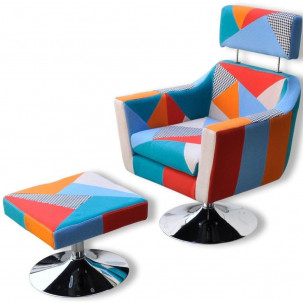 Fauteuil Relax HAPPY-FEET VINTAGE + repose-pieds - Tissu  - 2