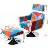 Fauteuil Relax HAPPY-FEET VINTAGE + repose-pieds - Tissu  - 3