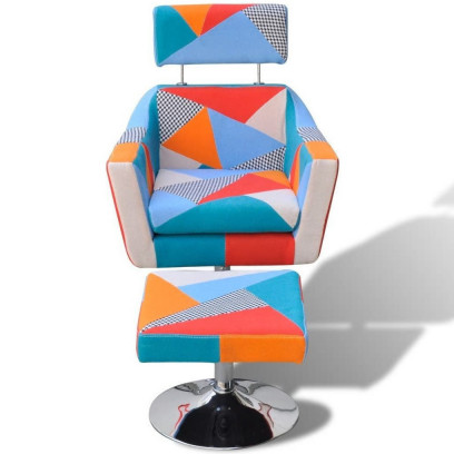 Fauteuil Relax HAPPY-FEET VINTAGE + repose-pieds - Tissu  - 7