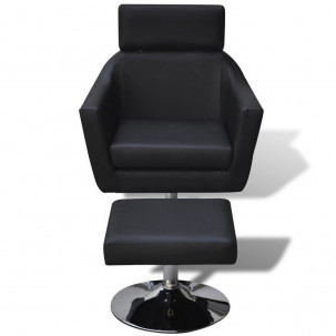 Fauteuil Relax HAPPY-FEET Noir + repose-pieds - Similicuir  - 2