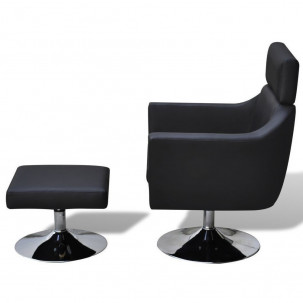 Fauteuil Relax HAPPY-FEET Noir + repose-pieds - Similicuir  - 4