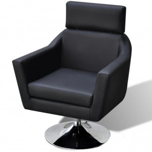 Fauteuil Relax HAPPY-FEET Noir + repose-pieds - Similicuir  - 5