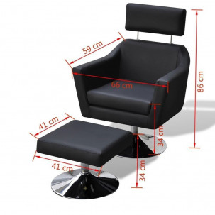 Fauteuil Relax HAPPY-FEET Noir + repose-pieds - Similicuir  - 3