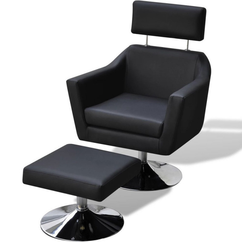 Fauteuil Relax HAPPY-FEET Noir + repose-pieds - Similicuir  - 1