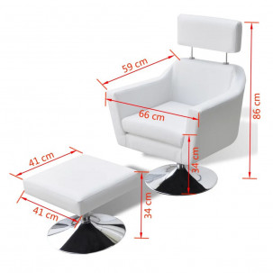 Fauteuil Relax HAPPY-FEET + repose-pieds - Similicuir  - 10
