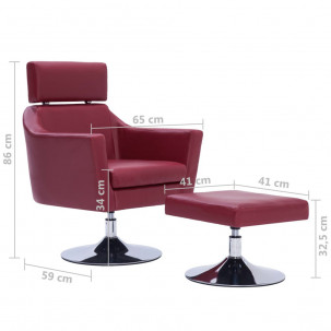 Fauteuil Relax HAPPY-FEET + repose-pieds - Similicuir  - 17