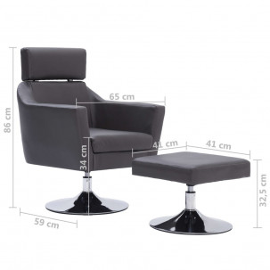 Fauteuil Relax HAPPY-FEET + repose-pieds - Similicuir  - 24