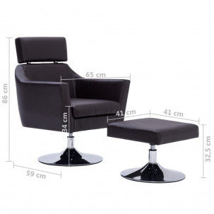 Fauteuil Relax HAPPY-FEET + repose-pieds - Similicuir  - 31
