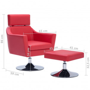 Fauteuil Relax HAPPY-FEET + repose-pieds - Similicuir  - 38